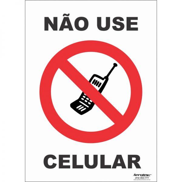 Placa Impressão Digital - Não use o Celular 14x19cm - PS182