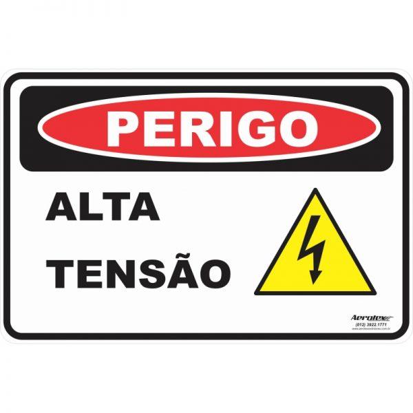Placa Impressão Digital - Perigo Alta Tensão 14 x 19 cm - PS188