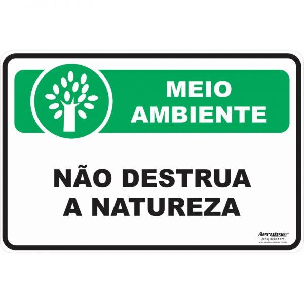 Placa Impressão Digital - Não Destrua a Natureza 14x19 cm - PS194