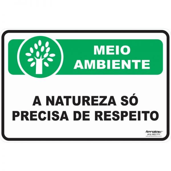 Placa Impressão Digital - A Natureza só Precisa de Respeito 14cm x 19cm - PS206