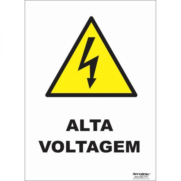 Placa Impressão Digital - Pictograma Alta Voltagem 14cm x 19cm - PS284
