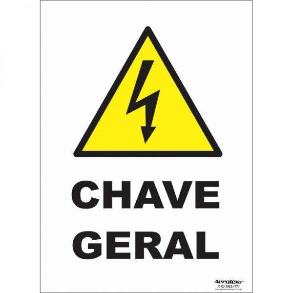 Placa Impressão Digital - Pictograma Chave Geral 14cm x 19cm - PS287