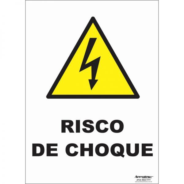 Placa de Sinalização Fotoluminescente - Risco de Choque A5 - 20cm x 20cm - PS293