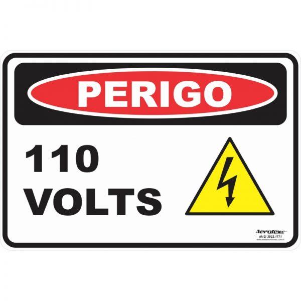 Placa Impressão Digital Perigo 110 Volts 14cm x 19cm - PS221