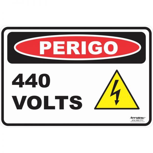 Placa Impressão Digital - Perigo 440 Volts 14cm x 19cm - PS230