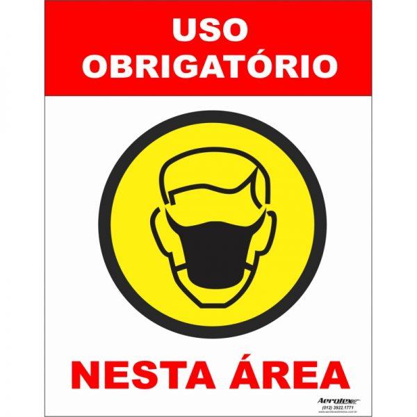 Placa Impressão Digital - Uso Obrigatório de Máscara 14cm x 19cm - PS302