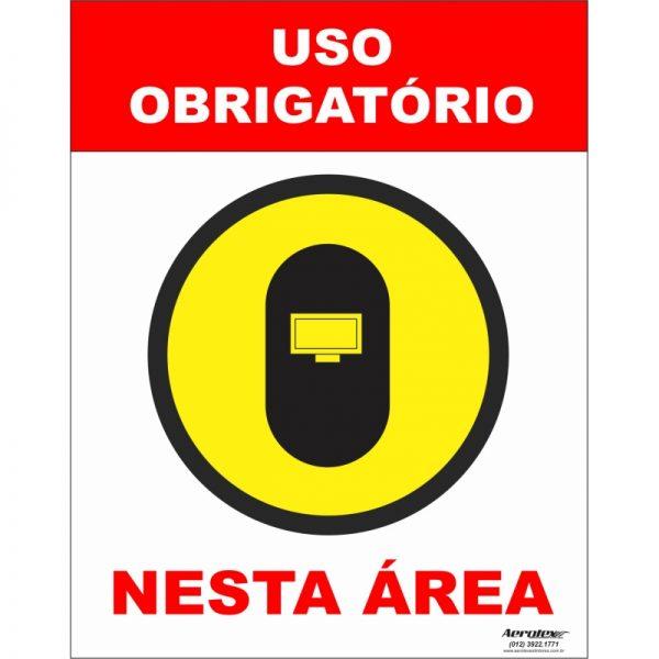 Placa Impressão Digital - Uso Obrigatório de Elmo Soldador 14cm x 19cm - PS300