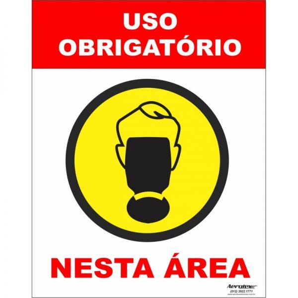 Placa Impressão Digital - Uso Obrigatório de Máscara Respiratória 14cm x 19cm - PS304