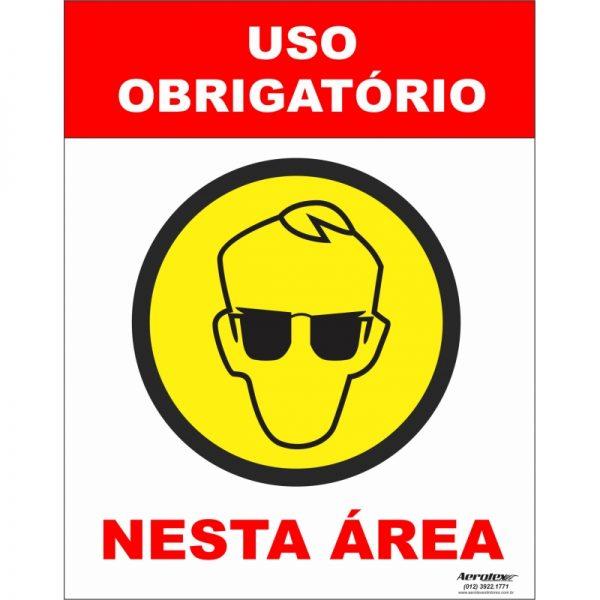Placa Impressão Digital - Uso Obrigatório de Óculos 14cm x 19cm - PS306