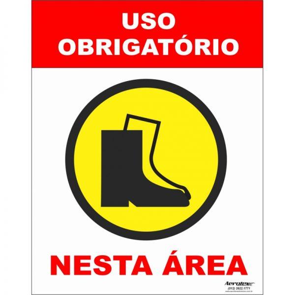 Placa Impressão Digital - Uso Obrigatório de Botas de Segurança 14cm x 19cm - PS316