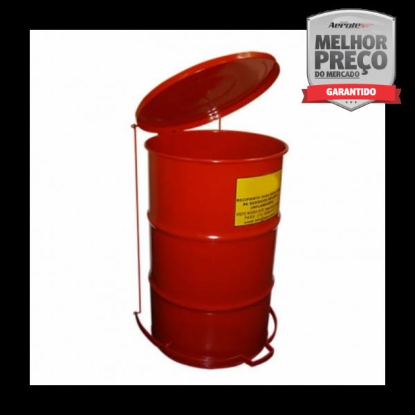 Lixeira Anti-Chamas Aço Carbono c/ Pintura Eletrostática Vermelha 50 Litros Aço Carbono - MH477