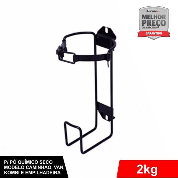 Suporte de Extintor Veicular Preto - Caminhão Kombi Van Empilhadeira - PQS 2 KG - CS011