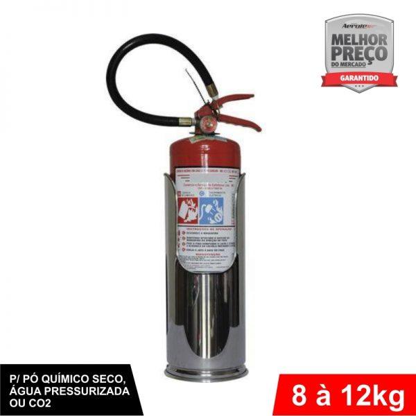 """Suporte de Extintor - Aço Inox - Modelo """"Batom"""" - AP / CO² / PQS 8 a 12kg - CS017"""