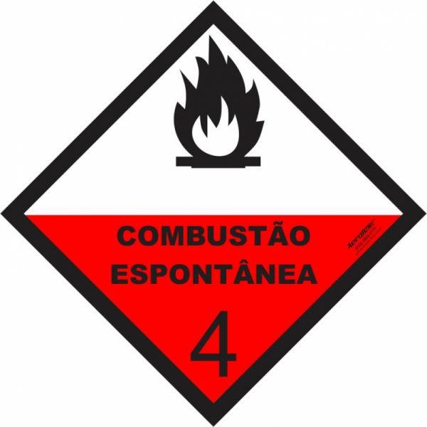 Placa Impressão Digital - Produto Perigoso - Combustão Espontânea - 30 x 30 CM - PS338
