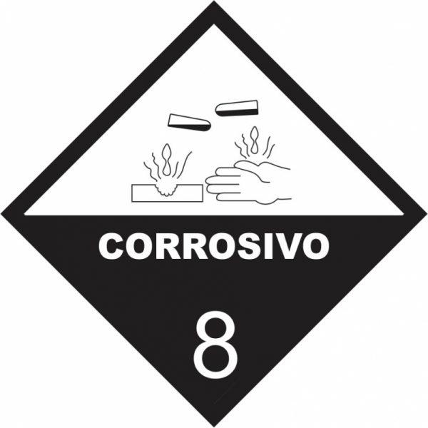 Placa Impressão Digital - Produto Perigoso - Corrosivo - 30 x 30 CM - PS339