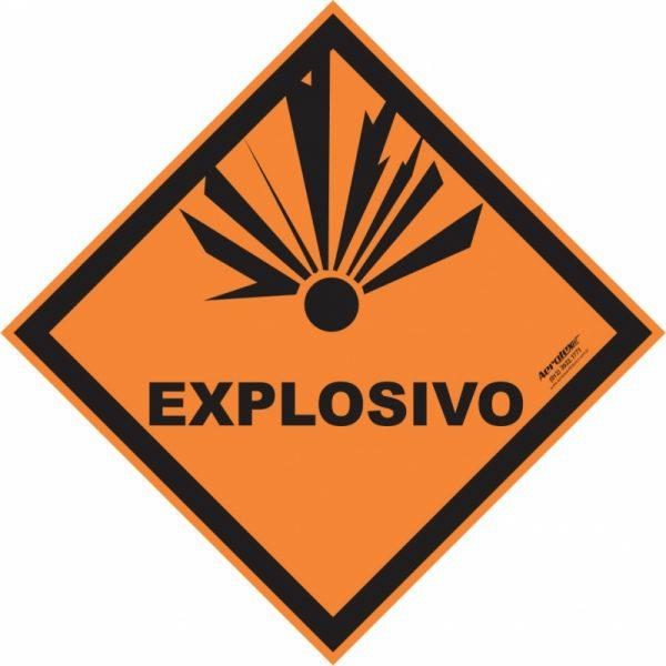Placa Impressão Digital - Produto Perigoso - Explosivo - 30 x 30 CM - PS340