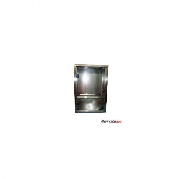 Abrigo para Mangueira Aço Inox - 1 Porta de Vidro Incolor 6mm - (A)90 x (L)60 x (P)17cm - Embutir - MH418