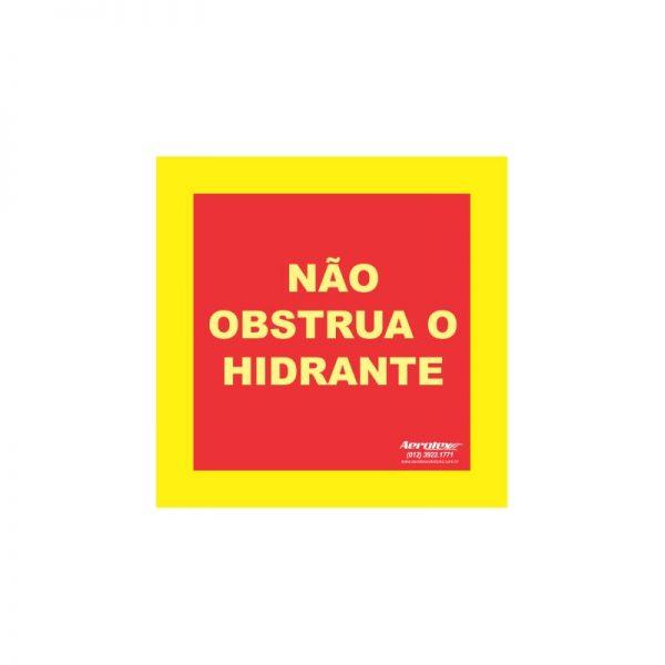 Adesivo Demarcação de Solo Hidrante ( E17 ) 100 x 100 cm - Não Obstrua o Hidrante - PS318