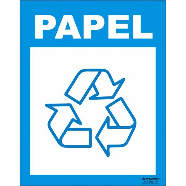 Placa Impressão Digital - Coleta Seletiva Papel 14x19cm - PS125