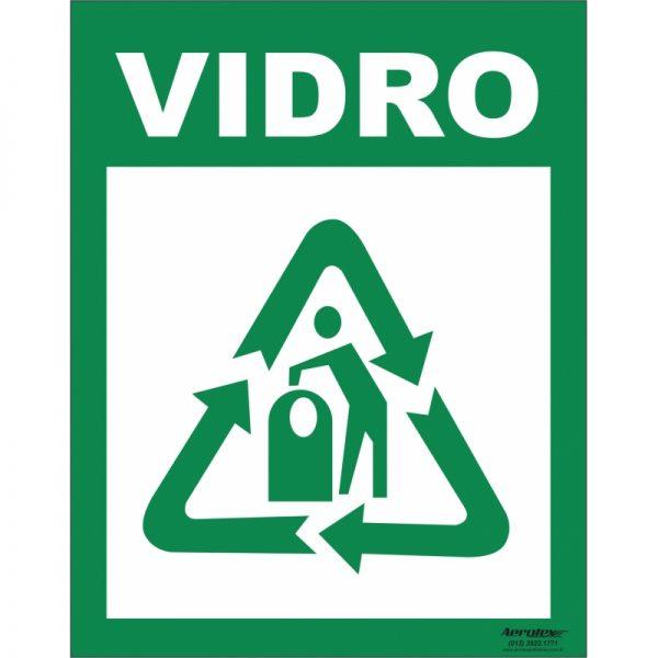 Placa Impressão Digital - Coleta Seletiva Vidro 14x19cm - PS048