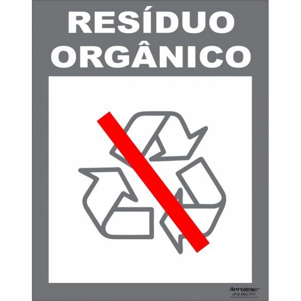 Placa Impressão Digital - Coleta Seletiva Resíduo Orgânico 14x19cm - PS054
