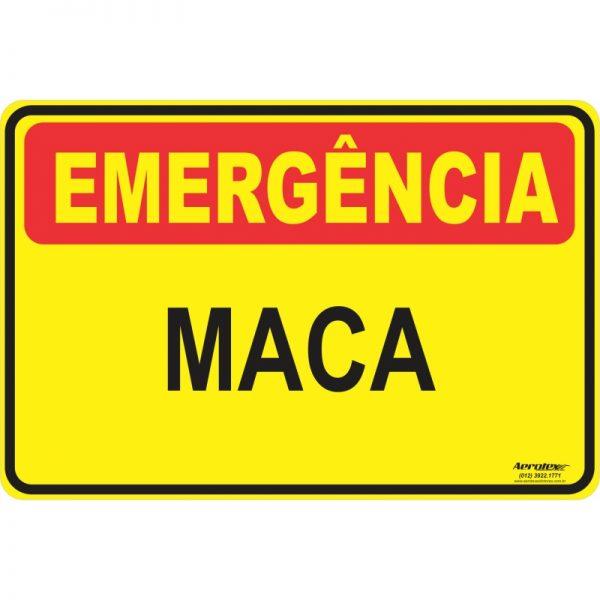 Placa Impressão Digital - Emergência Maca 12 x 24 cm - PS027