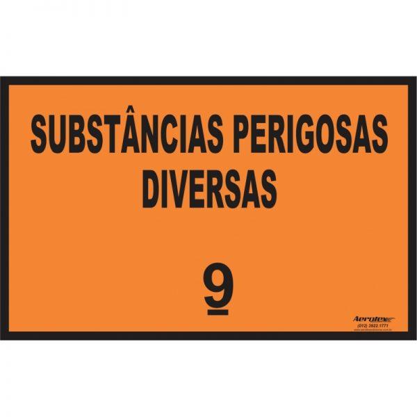 Placa Impressão Digital - Substâncias Perigosas Diversas 9 - Laranja - PS404