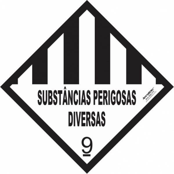 Placa Impressão Digital - Substâncias Perigosas Diversas 9 - Branca e Preta 30 x 30 cm - PS406