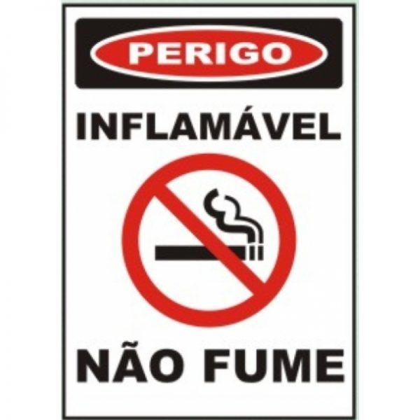 Placa Impressão Digital - Perigo Inflamável Não Fume 14x19cm - PS069