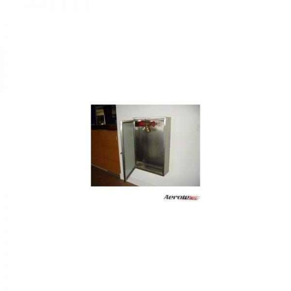 Abrigo para Mangueira Sobrepor Aço Inox - 1 Porta de Vidro incolor 6mm - (A)90 x (L)60 x (P)17cm - MH419