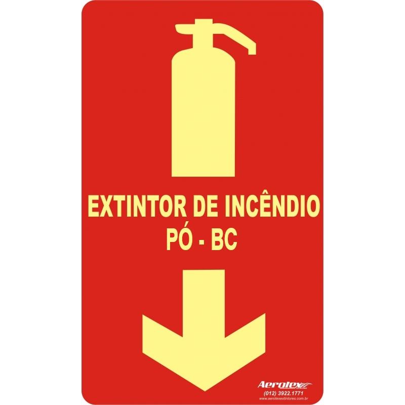Placa Fotoluminescente Extintor Pó BC - Certificado Laudo IPT 25x15cm E5 - PF010