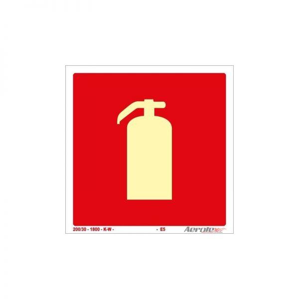 Placa Fotoluminescente Extintor 20x20 cm CERTIFICADA COM LAUDO IPT E5 - PF069