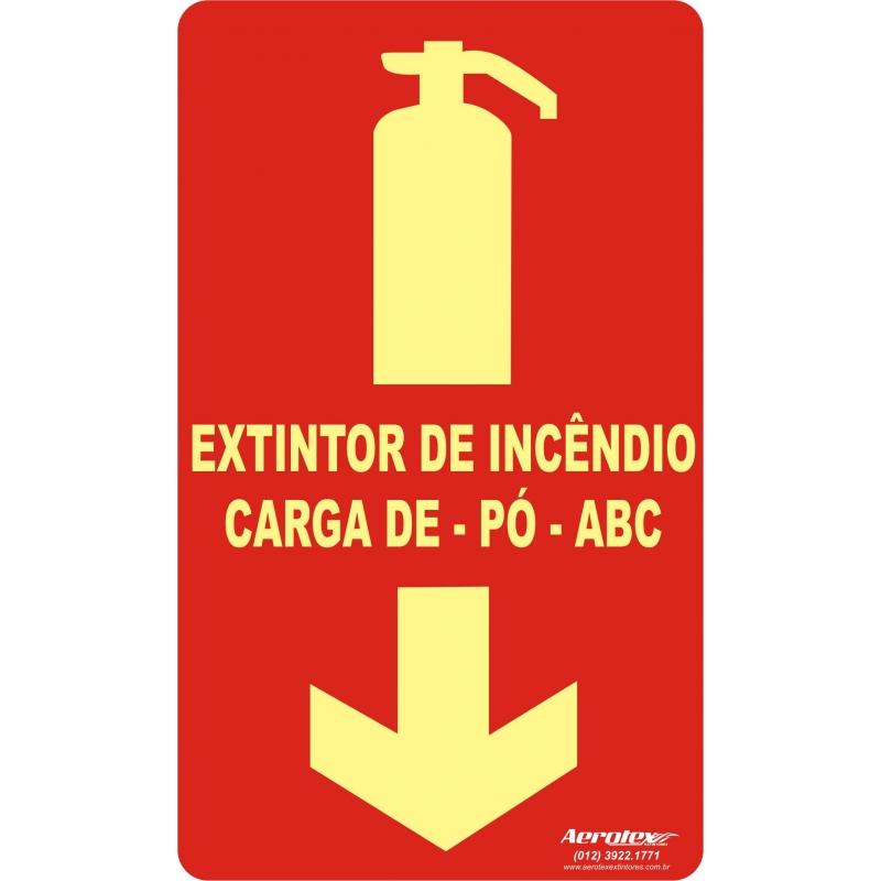 Placa Fotoluminescente Extintor Pó ABC - 25x15cm ( E5 ) - PF008