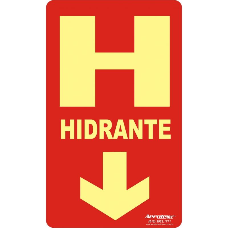 Placa Fotoluminescente Hidrante c/ Seta ( E8 ) - 25x15cm - PF013