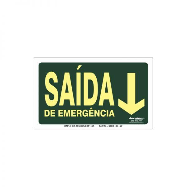 Placa Fotoluminescente Saída de Emergência Seta Para Baixo ( S22 ) 15x25cm - PF075
