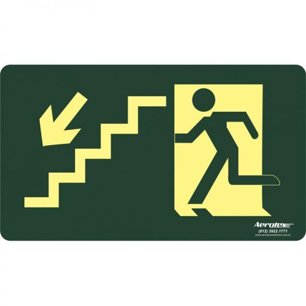 Placa Fotoluminescente Escada Emergência Descendo Esquerda - ( S9 ) 15x25cm - PF024