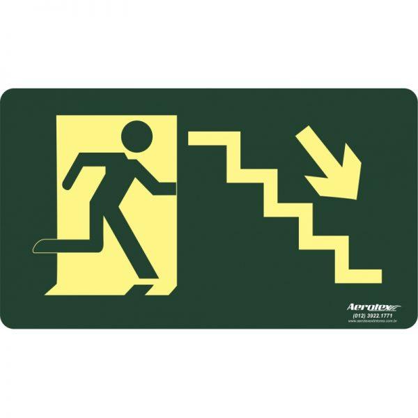 Placa Fotoluminescente Escada Emergência Descendo Direita (S8) - 25x15cm - PF023