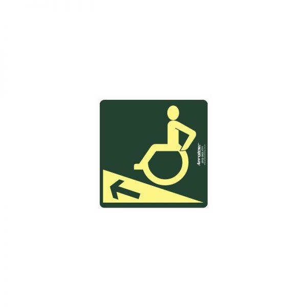 Placa Impressão Digital Rampa Em Aclive Para Esquerda 20x20 cm - PF094