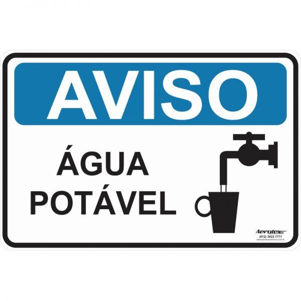 Placa Impressão Digital - Aviso Água Potável 14 x 19 cm - PF066