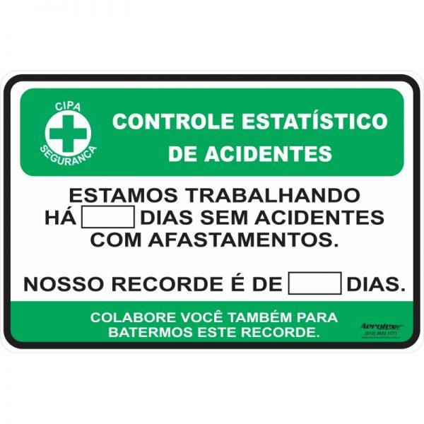 Placa Impressão Digital - Controle de Acidentes - Numeral de plástico Removível - 28X44 - PS564