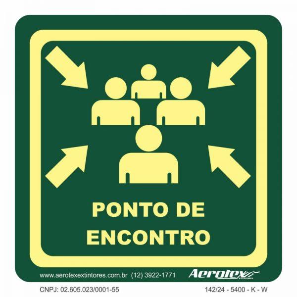 Placa Fotoluminescente Ponto De Encontro 20X20 CM - PS413