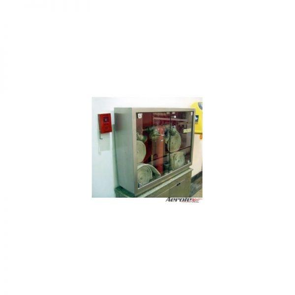 Abrigo para Mangueira Aço Inox - C/ 2 Portas de Visor em Acrílico - Embutir/Sobrepor - C/ Pedestal Duplo - MH1072