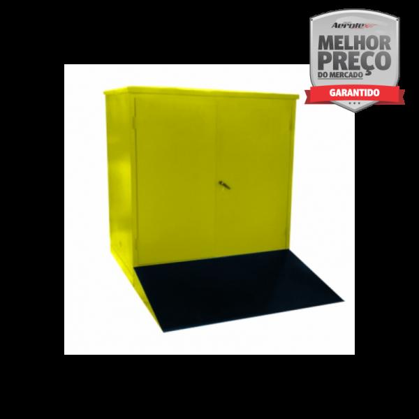 Armário Corta Fogo para 8 Tambores de 200L 190x200x230cm 2 Portas Amarelo Líquidos Inflamáveis - MH1051