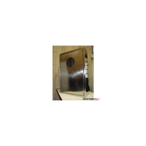 Abrigo para Mangueira Aço Inox - C/ 1 Porta com Visor de Acrílico - (A)90 x (L)60 x (P)17cm - Embutir C/ Cesto ½ LUA - MH1067
