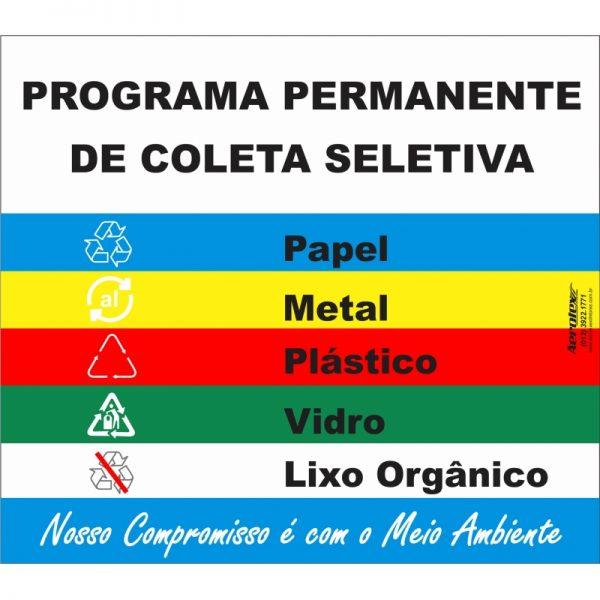 Placa Impressão Digital - Programa Permanente de Coleta Seletiva 40cm x 50cm - PS129