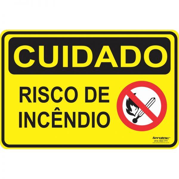 Placa Impressão Digital - Cuidado Risco de Incêndio 14cm x 19cm - PS084
