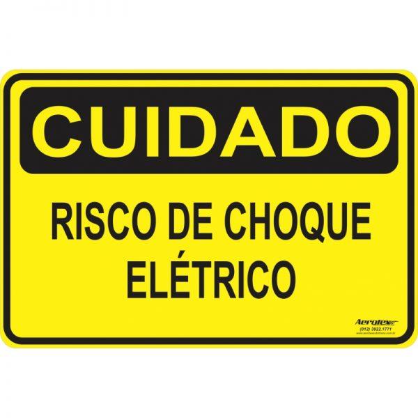 Placa Impressão Digital - Cuidado Risco de Choque Elétrico 14cm x 19cm - PS082