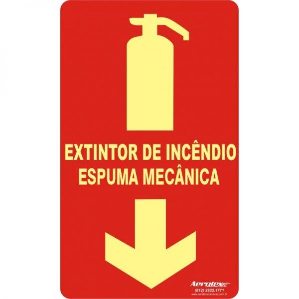 Placa Fotoluminescente Extintor Espuma Mecânica - AB - Certificado Laudo IPT 25x15cm E5 - PS127