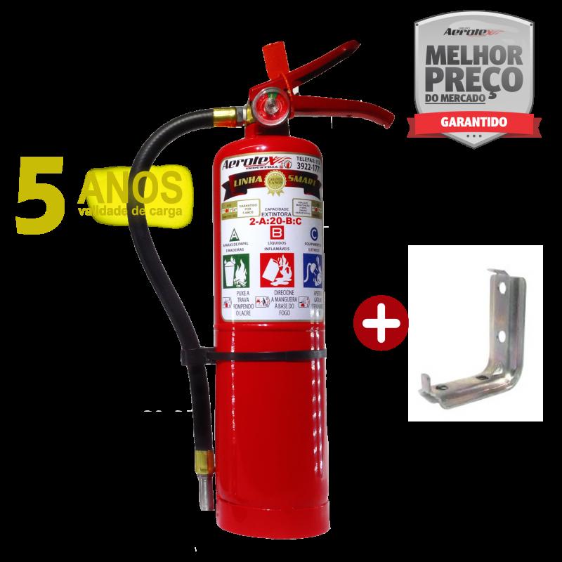 Extintor Pó ABC SMART- PORTÁTIL - 2,5Kg - VALIDADE 05 ANOS - 2A-20BC - EA002 - Incluso suporte de parede