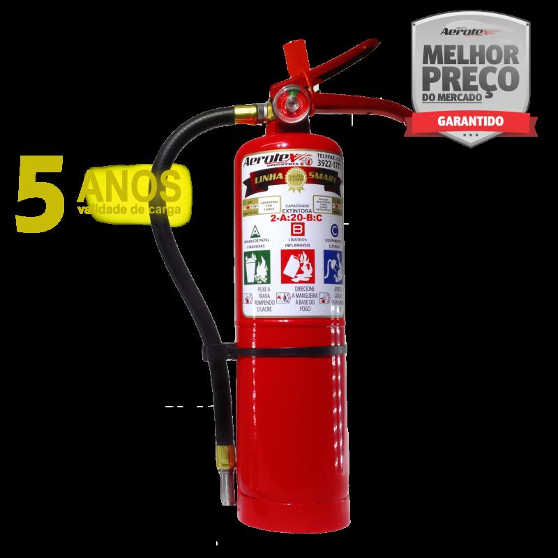 Extintor Pó ABC SMART- PORTÁTIL - 2,5Kg - VALIDADE 05 ANOS - 2A-20BC - EA003 - Incluso placa certificada e suporte de parede
